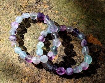FREE SHIPPING Rainbow fluorite bead bracelet