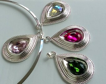 Pendant shape drop Crystal on silver bail - choose 2 colors