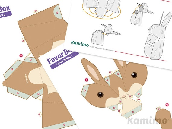 Easter bunny rabbit favor boxes gift boxes spring easter bunny rabbit favor boxes gift boxes spring celebrations printable paper craft pdf paper craft template natural colors negle Choice Image