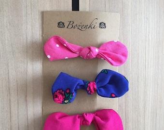 Blue Ditsie Floral & Pink Fuschia Bow Hair Clips (set of 3)