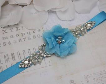 Wedding belt- turquoise flower girl  belt, flower girl sash, bridesmaid belt, wedding sash, sash belt, crystal rhinestone belt, dress belt