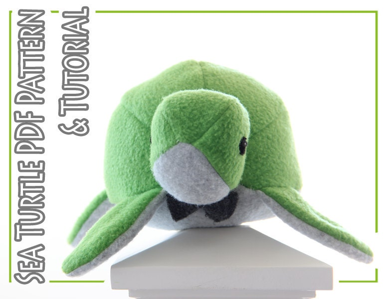 Plush toy sewing PATTERN and TUTORIAL, fleece sea turtle, easy ...
