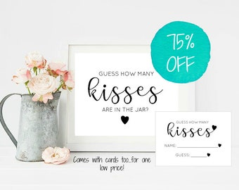 Guess How Many Kisses Are In The Jar, How Many Kisses Game, Bridal Shower Game, Bachelorette Party, Guessing Game, DIY, Kisses Game, Bridal