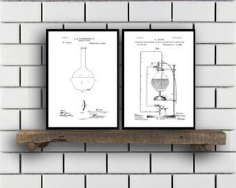 Chemistry Patents Set of 2 Prints, Chemistry Prints, Chemistry Posters, Chemistry Blueprints, Chemistry Art, Chemistry Wall Art,