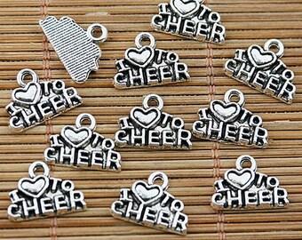 40pcs tibetan silver tone CHEER charms EF1764