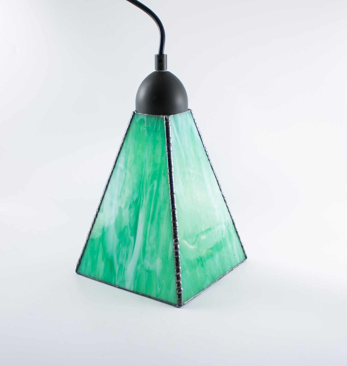 Stained Glass Pendant Light Green And White Hanging Lamp