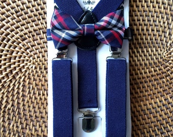 Navy Baby Bow Tie, Navy Toddler Bow Tie, Little Boy Bow Tie and Suspenders, Navy Toddler Suspenders, Suspender and Bow tie Set- 6 Mo to 5