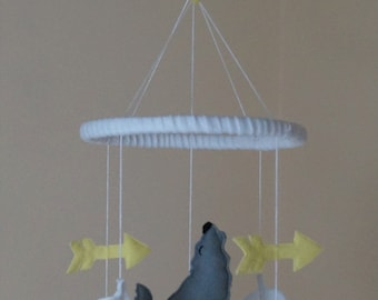 Wolf, arrow, feather, Moon unisex baby mobile grey Mint/Yellow/ Mustard