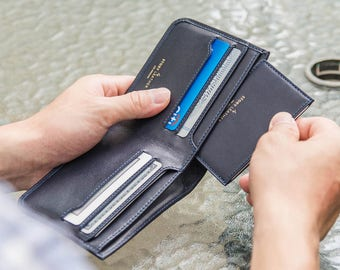 Lightweight Mens Bi-Fold Genuine Leather Minimalist Slim Wallet In Navy Blue Napa Leather with Bonus Slim Card Holder