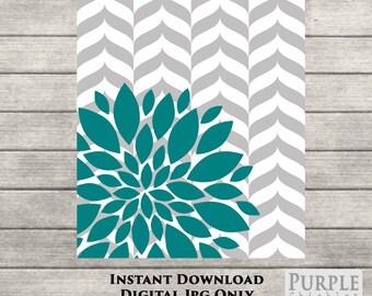 "INSTANT DOWNLOAD Teal Flower Burst Herringbone Botanical Printable Art 8"" x 10"" Digital Fine Art  Modern Wall Art Printable Home Decor (43)"