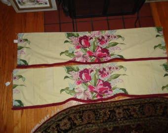 "Vintage Mid Century Pair 58"" each Yellow Floral Maroon fringe Valances"