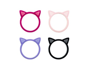 Kitty Ring: Baby Pink, Lilac, Black or Bright Pink Laser Cut Acrylic Kitty Ears Ring
