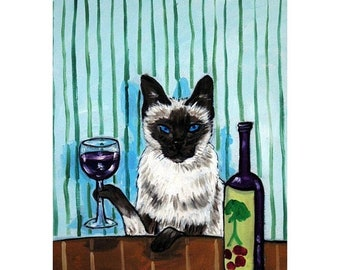 25% off cat art - siamese cat wine art animals impressionism gift  signed art print, cat gifts, gift