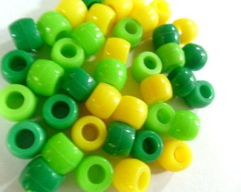 Pony Beads 6 x 9 mm 150 Beads in Color Combo Margarita Mix Green Lime and Yellow