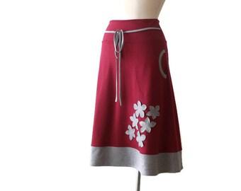 Burgundy skirt, Skirt with pockets, A line pockets skirt, Womens skirt, Handmade skirt, Jersey skirt, Bordo Skirt, Skirt US 12 / US 14