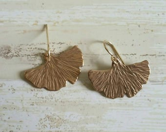 Bronze and Yellow Gold Fill Gingko Leaves Dangle Earrings
