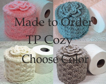 Toilet Paper Cozy w- Flower on Top - LOTS of COLOR Choices - Made to Order - TP Cover - Hand Crocheted Acrylic Yarn - Bed & Breakfast Decor