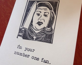 Misery Kathy Bates Handcarved Rubber Stamp Handstamped Greeting Card