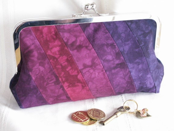 Handmade, hand dyed, patchwork clutch. Purple, magenta, blue. SUNSET GLORY by Lella Rae on Etsy