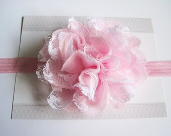 Pink and White Chiffon Baby Headband, Infant Headbands, Baby Girl Headbands, Infant Bows, Baby Bows, Newborn Headbands