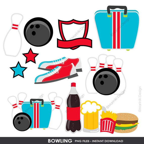 bowling clipart sports clipart boys clip art vector graphics for rh etsystudio com Book Clip Art Cute Scrapbooking Clip Art