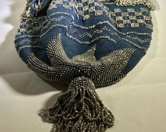Beautiful Antique Silver Steel Bead and Blue Crocheted Reticule Purse