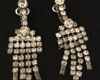 CLEARANCE Vintage Earring Rhinestone Clips New Year's Eve Bridal Earrings Fancy Dangles for Evening or Wedding