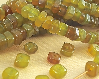 40 Genuine Horn Natural Beads Light Seaweed Green Nuggets Animal bull 6mm x 4mm Real horn beads Dyed