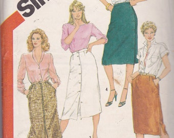 Simplicity 5960 CLEARANCE Vintage Pattern Womens Button Down Skirt in 3 Lengths Size 16,18,20 UNCUT