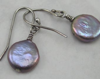 Soft Gray Freshwater Coin Pearl and Sterling Silver Earrings