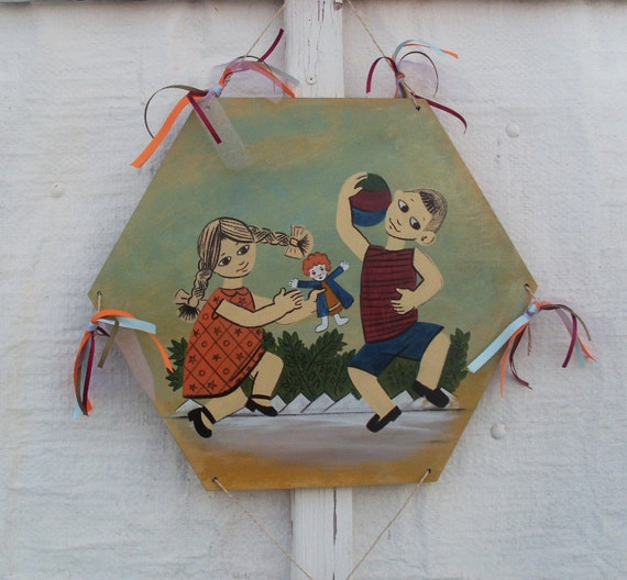 Playing Kids Kite - Home Decor - Wall Hanging