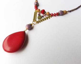 Intricate Red Tear Drop Necklace