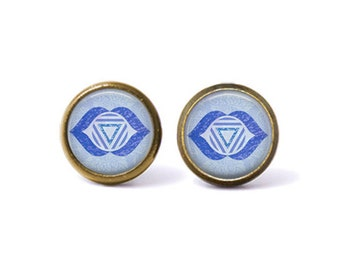 Third Eye Chakra Ajna Stud Earrings. Third Eye Chakra Earrings, Ajna Chakra Earrings, Chakra Jewelry, Boho Jewelry, Watercolor, Blue