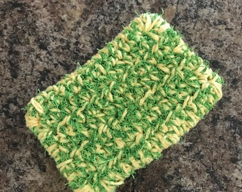 Crochet Double Sided Dish Scrubby - Yellow & Green