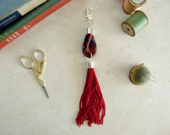 Red Tassel Bag Charm - Red Purse Charm - Liberty Bag Charm - Red Tassel Keychain - Tassel Handbag Charm - Secret Santa - Gift for Girlfriend