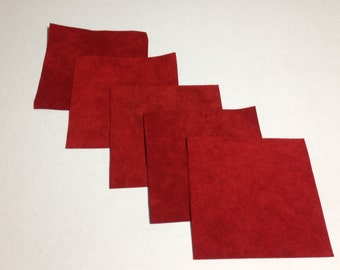 Ultrasuede fabric squares scraps sampler Rich Red shade 4in X 4in. 5 pieces.