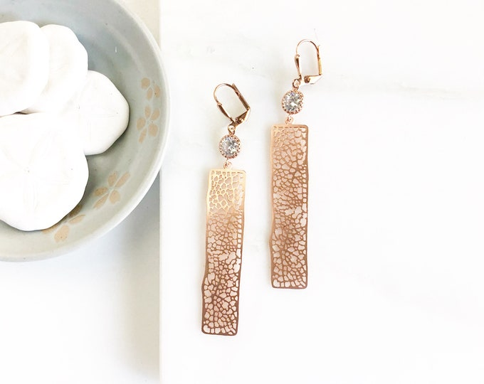 Rose Gold Rectangle and CZ Jewel Dangle Earrings.  Statement Earrings. Jewelry Gift for Her.  Rose Gold Statement Earrings. Gift. Jewelry.