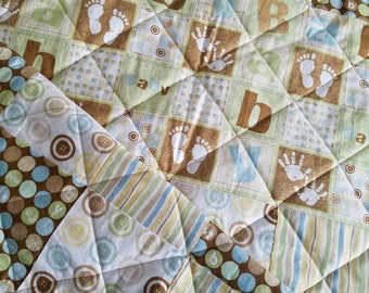Buttons and Stripes Baby Boy Crib Quilt