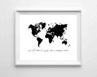 World Map Poster, Black And White Map, Travel Poster, Traveler Gift, World Traveler, Printable World Map, Travel Decor, Large World Map
