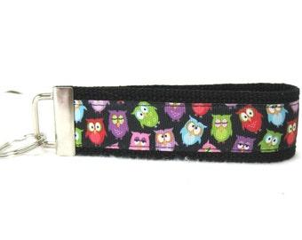 Owl Key Fob Owls Key Chain Large Wristlet BLACK