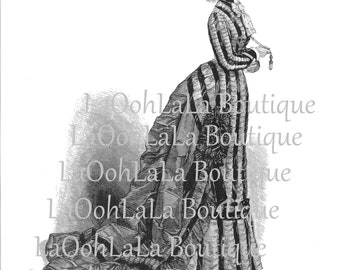 1875 Striped Gothic Lolita Digital Printable Birthday Cake Topper Beetlejuice Steampunk Bustle Dress Victorian Paris Fashion Tea Party Image