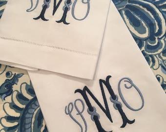 Monogrammed Tea Towel Linen Cotton Embroidered