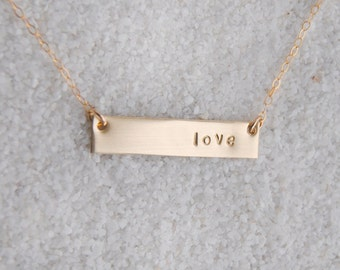 Gold Bar Love Hashtag Necklace