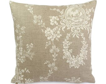 Tan French Country Toile Pillow Cover, Custom Euro Square or Lumbar Pillow, Brown and Cream Floral Throw Pillow, Waverly Country House Linen