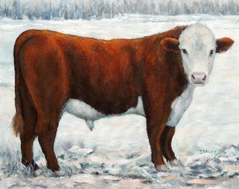 Hereford Bull, Print, Bull, Standing Full Side Red Bull, Cows, Bulls, Bull Art, Farm, Kitchen Decor, Painting by Dottie Dracos,Various Sizes