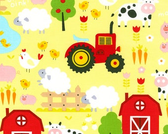 Timeless Treasures, Farm on Green, cotton fabric,  1 yard