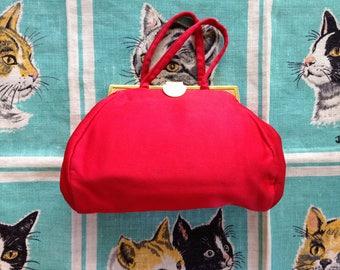 Vintage red silk evening bag
