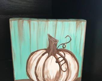 Hand painted fall pumpkin canvas decor