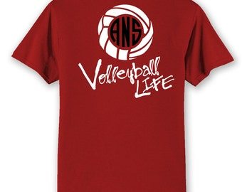 OFFICIAL TM Volleyball Life™ SCRIPT Custom Monogram Raglan Volleyball Shirt Volleyball T I0mQZd