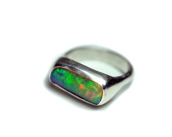 Crystal Opal Ring - Sterling Silver Mens Opal Ring OOAK Handmade Jewelry Boulder Opal Ring- Size 7